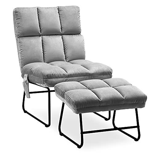 MCombo Sessel mit Hocker, Relaxsessel für Wohnzimmer, moderner Fernsehsessel Loungesessel Stuhl, Samt, 0014 (grau)