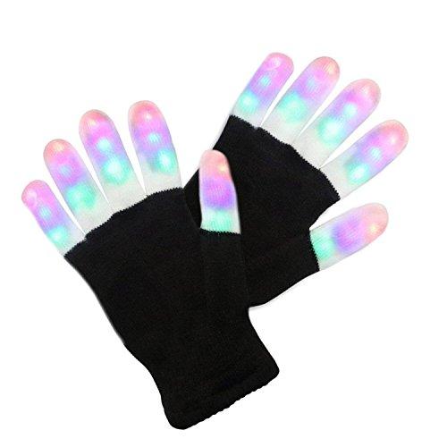 Charlemain LED Handschuhe Erwachsene,6 Modus,blinkende Handschuhe,ab 10 Jahre, leuchtende Handschuhe Spielzeug für Weihnachten, Halloween