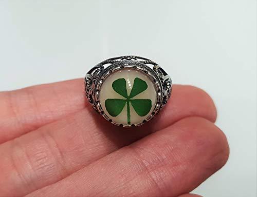 Echtes Kleeblatt Ring Blume Fingerring Echt 925 Sterling Silber Blüten Finger Ring Größe einstellbar Handmade Schmuck Geschenk Geschenkidee Glück Glückksbringer