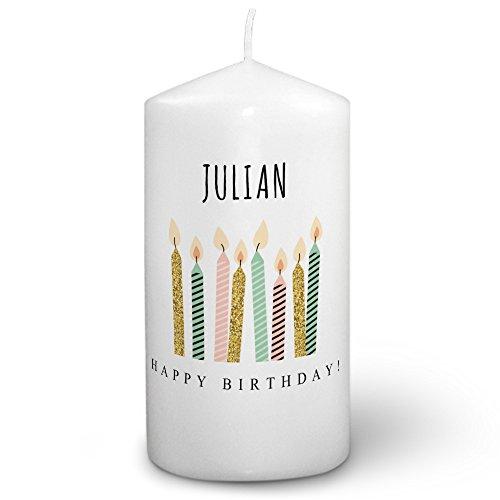Kerze mit Namen Julian - Fotokerze mit Design Happy Birthday - romantische Wachskerze, Taufkerze, Hochzeitskerze, Stumpenkerze