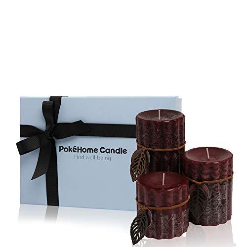 Duftkerzen Geschenkset, PokeHome Candle 3 Stück Duftkerzen Geschenkset für Frauen, Brenndauer bis zu 200 Stunden, Handgemacht - 44 Oz (Lavendel, Kristall Stumpenkerze)