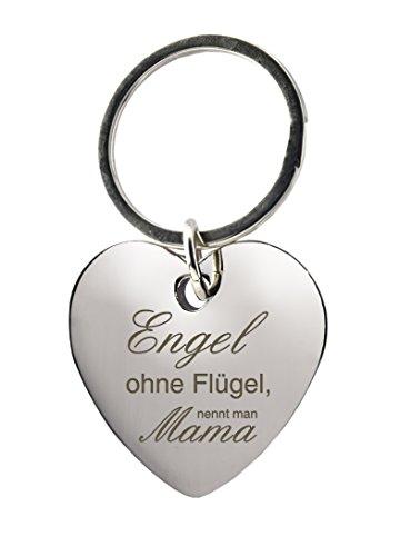 Schlüsselanhänger Herz mit Gravur »Engel ohne Flügel, nennt man Mama« - Geschenk - Mutter - Muttertag - Muttertagsgeschenk oder als Geschenk zu Weihnachten