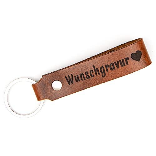 TIDERO Schlüsselanhänger Leder mit Wunschgravur – personalisiert individuell Gravur Schlüsselbund – Geschenk Weihnachten für Männer Frauen Name Auto Datum – Handmade in Germany – Wild Brown