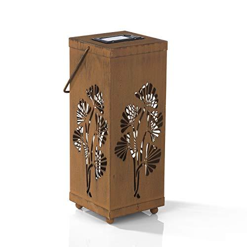 EASYmaxx Dekosäule - Laterne | In- und Outdoor | zum aufhängen mit Bügel oder aufstellen mit Erdspieß | Leuchtdauer bis zu 8 Stunden - Rost-Optik [26 cm]