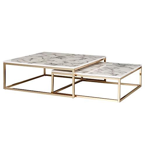 Wohnling Design Couchtisch 2er Set Weiß Marmor Optik Eckig   Couchtische 2-teilig Tischgestell Metall Gold   Edle Wohnzimmertische   Moderne Satztische