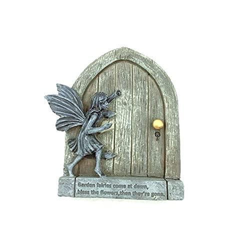 CoolWOW Garten-Feentür, Miniatur-Feen-Eingangstür, Kunstharz-Statuen, Feen-Ornamente, Outdoor-Hängedekoration, Geschenke, Hof-Skulptur, Dekoration