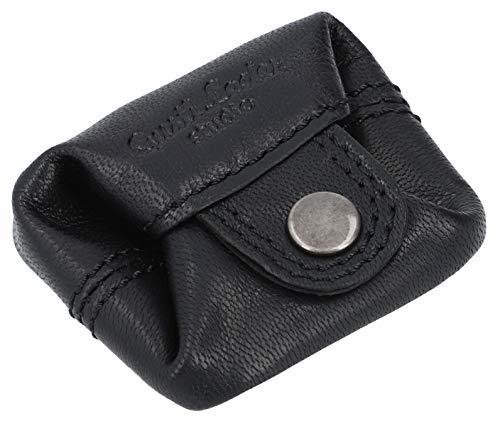 Gusti Kleingeldbörse Leder - Linus Münzbörse Wiener Schachtel Münzbeutel Coin Purse klein schwarz