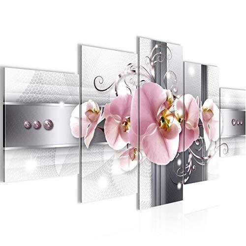 Runa Art - Bilder Blumen Orchidee 200 x 100 cm 5 Teilig XXL Wohnzimmer Schlafzimmer Grau Rosa 008351a