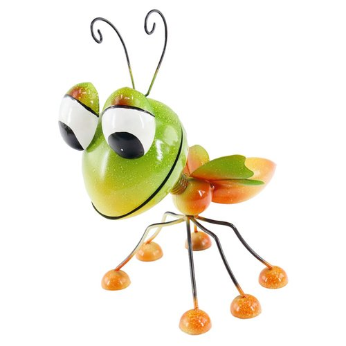 Dekofigur Insekt, Gartenfigur, Metallfigur, Blechfigur, Grün/Orange, Höhe ca. 28cm
