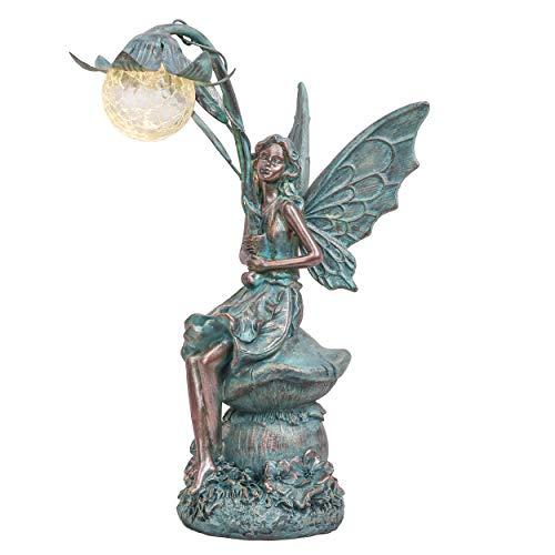 TERESA'S COLLECTIONS Sitzende Elfen Gartenfiguren Solar Glaskugeln Beleuchtung 35cm Engel Statue aus Polystein Bronze Garten Solarfiguren Feen Statue Gartendekoration Solar Figur Fee Fairy für Außen
