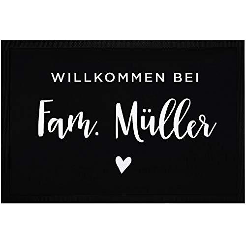 SpecialMe® Fußmatte Willkommen bei Familie [Wunschname] Herz personalisiert rutschfest & waschbar weiß 60x40cm