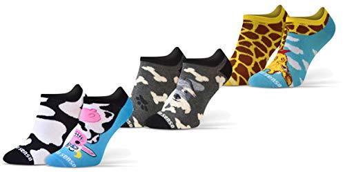Sesto Senso Lustige Sneaker Socken Baumwolle Bunte Füßlinge Damen Herren 1-3 Paar Funny Socks Hund Kuh Giraffe 35-38 3 Tiere