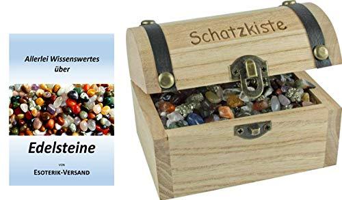 Esoterik-Versand Schatzkiste mit Aufdruck, mit kleinen Edelsteinen gefüllt, incl. 36seitige Broschüre