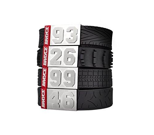 BRAYCE Motorsport Armband im Reifen Style mit Deiner Nummer 00-99 I Autoreifen, Rennreifen, Motocrossreifen & Motorradreifen I Geschenk für Autoliebhaber, Autofahrer, Biker & Motorradfahrer