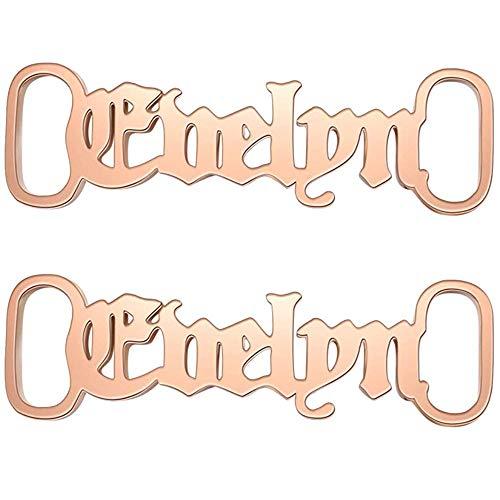AeasyG 2 Stück personalisierte Schnürsenkel-Dekorationen, benutzerdefiniertes Schnürsenkel-Namens-Charm-Zubehör, 9 Schriftarten erhältlich