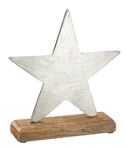 Weihnachtsdeko 'Metall Stern' silber auf Mango - Holzfuß Weihnachtsfigur Weihnachten Deko gehämmert ausgefallen modern Dekofigur