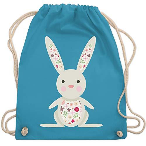Ostern - Süßer Hase - Frühlingstiere mit Blumen - Unisize - Hellblau - beutel kindergarten - WM110 - Turnbeutel und Stoffbeutel aus Baumwolle