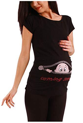 Coming Soon - Lustige witzige süße Umstandsmode/Umstandsshirt mit Motiv für die Schwangerschaft/T-Shirt Schwangerschaftsshirt, Kurzarm (Schwarz, Large)
