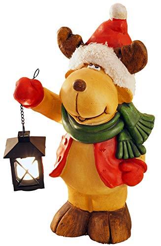 khevga Weihnachtsdeko Figur Elch mit Laterne Deko Weihnachten XL 40cm beleuchtet