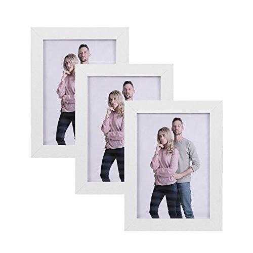 SONGMICS Bilderrahmen im 3er-Set, 13 x 18 cm Bilderrahmen Collage, Fotorahmen mit Glasscheibe, Rahmenbreite 2cm, MDF Weiß RPF33WT
