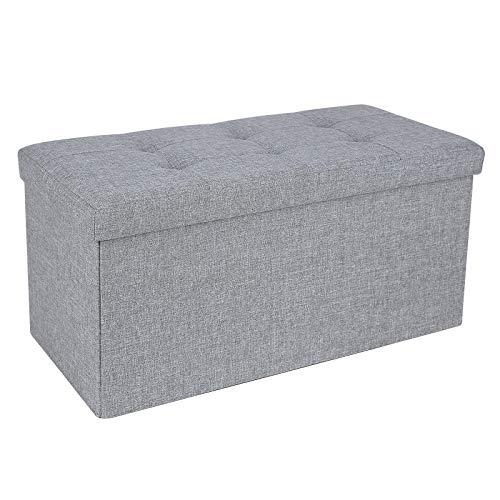 SONGMICS Sitzbank mit Stauraum, Sitztruhe, Sitzhocker, Aufbewahrungsbox, Fußablage, faltbar, belastbar bis 300 kg, 80 L, 76 x 38 x 38 cm, Leinenimitat, hellgrau LSF47G