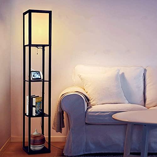 Albrillo Retro Stehlampe mit Holzregal - Design Stehleuchte mit E27 Fassung(Max. 60W Birne), 160cm Standlampe mit 3 Fächer und Draht Klammer, insgesamt 7.25KG belastbar, für Wohnzimmer Schlafzimmer