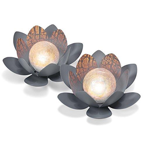 Dekoratives Solar Lotusblüten 2er Set aus Metall - angenehm warmweißes Licht - traumhafte Lichteffekte durch Bruchglasoptik - (D x H): 27 x 9cm - Solarlampe Gartenbeleuchtung Lotusblume esotec 102087