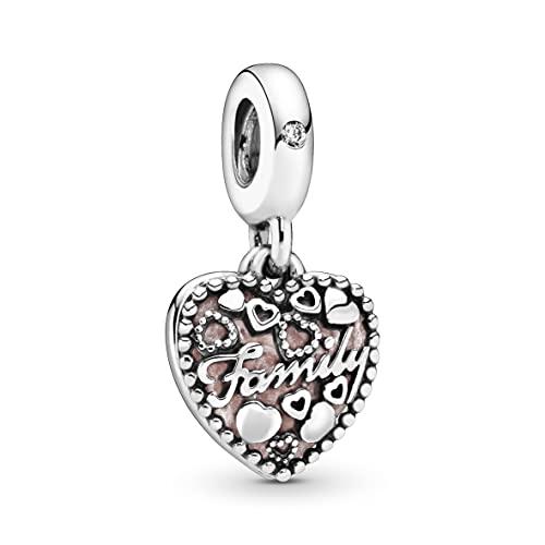 Pandora Love Makes A Family Dangle Charm, Pink Enamel & Clear CZ 796459EN28, rose, One size