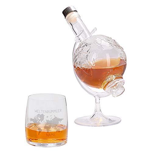 Herz & Heim Weltenbummler Whiskyset bestehend aus Weltkugel Whisky-Karaffe und einem gravierten Whiskyglas