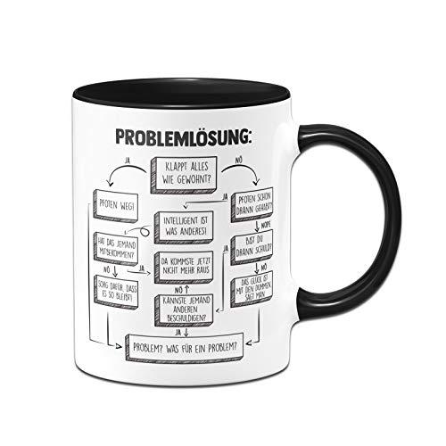 Tassenbrennerei Tasse mit Spruch Problemlösung auf der Arbeit im Büro - Kaffeetasse lustig - Geschenk für Arbeitskollegen - Spülmaschinenfest (Schwarz)
