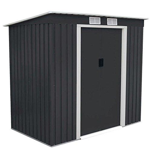 SVITA P100 Metall Gerätehaus M 213×130×173cm Geräteschuppen 4m³ Schuppen Gartenhaus Outdoor dunkelgrau anthrazit