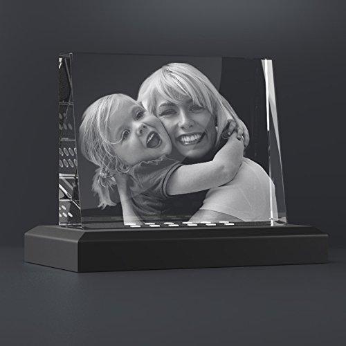 Personello® Glasfoto, Glaskristall mit Gravur, originelles Fotogeschenk, Größe M=105x80x30mm, mit LED Leuchtsockel