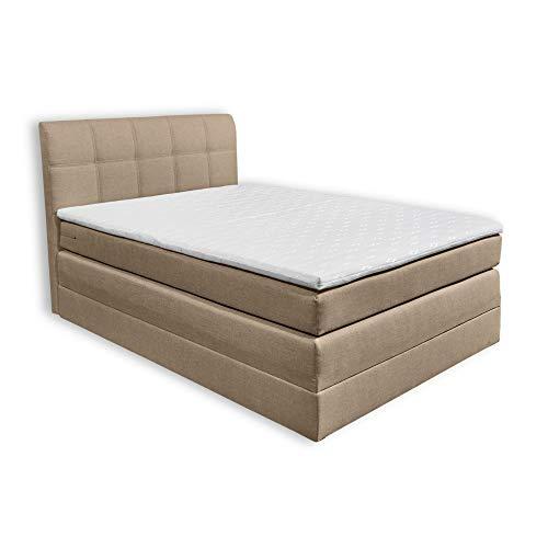 NEW BEDFORD 2 Boxspringbett 120x200 mit Bettkasten, Sand - Bequemes Bett mit 7-Zonen-Federkern Matratze H2 & Komfortschaum Topper - 121 x 113 x 209 cm (B/H/T)