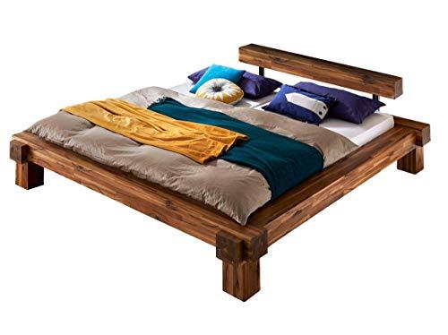 SAM Balkenbett 200x200 cm Casa, Akazien-Holz, lackiert, massives Holzbett, FSC 100% Zertifiziert, Unikat