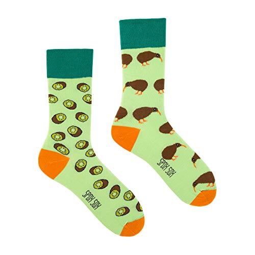 Spox Sox Casual Unisex - mehrfarbige, bunte Socken für Individualisten, Gr. 36-39, Kiwi