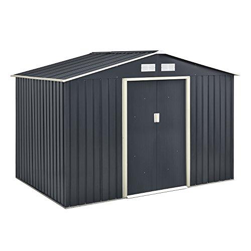 Juskys Metall Gerätehaus XL mit Satteldachdach, Schiebetür & Fundament | 9m³ | anthrazit | Geräteschuppen Gartenhaus Metallgerätehaus