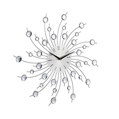 Relaxdays, Silber Wanduhr XL mit Glitzer, Küchenuhr groß, Moderne Wohnzimmeruhr, Analoguhr Wand, 50 cm Durchmesser, Eisen, Acryl, 4 x 50 x 50 cm