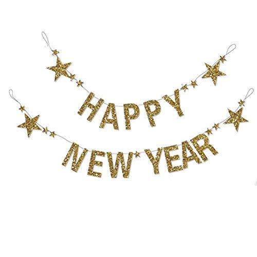 BESTOYARD Glitzer Happy New Year Girlande mit Sterne Froh Weihnachten Banner Weihnachtsfeier Fahnen