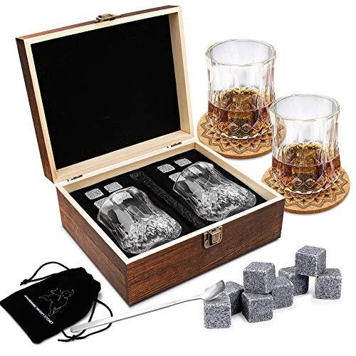 Whisky Steine Geschenkset – 8 Whisky Eiswürfel Wiederverwendbar und 2 * Whiskygläser, Whiskey Rocks Cooling Stones, Geschenk Box aus Holz, Bestes Geschenk für Männer und Frauen.