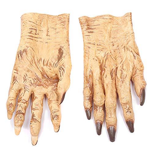 CerisiaAnn Halloween-Zombie-Handschuhe, lustige Latex-Teufel-Silikon-Handschuhe, realistische Handschuhe, Make-up-Tricks, Party-Requisiten für Halloween-Tanz M-01