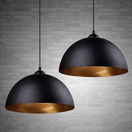 2 x Modern Industrielle Pendelleuchte - MOTENT minimalistisch Vintage Hängeleuchter 11,81' Breite Lampe Kronleuchter aus Eisen Hängelampe E27 Lampenfassung Deckenleuchte für Küchen Keller - Schwarz