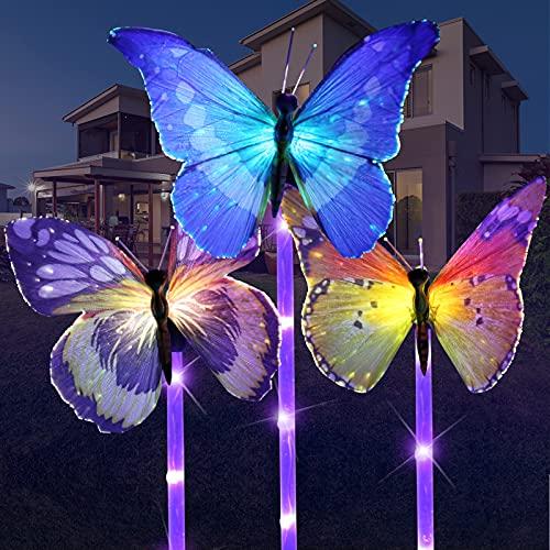 Solarlampen für Außen, Vegena 3 Stück Solar Schmetterling Gartenleuchte LED Gartenlampe Pfahllichter Straßenlaterne Wasserdicht IP65 Solarleuchten für Garten Balkon Rasen Terrasse Gartendeko Figuren