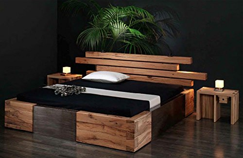 Massivholzbett Brunhilde - rustikales Designerbett, Größe:200x220cm