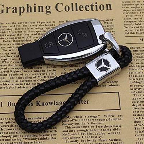 KMNXVG High-End Leder Geflochtene Seil Schlüsselbund Kreative D-Typ Hufeisen Schnalle Für Mercedes Logo Metall Schlüsselanhänger Geschenk Anhänger