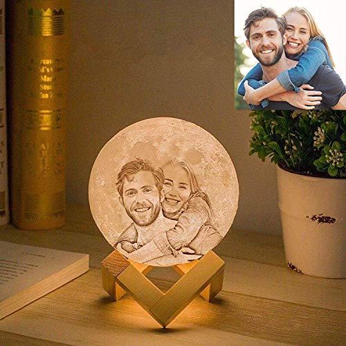 Gahaya benutzerdefinierte Mondlampe Personalisiertes Foto 3D-gedruckte romantische kreative Nachtlicht mit Stand & Touch-Steuerung und wiederaufladbaren USB-Geschenken 12 cm 3 Farben