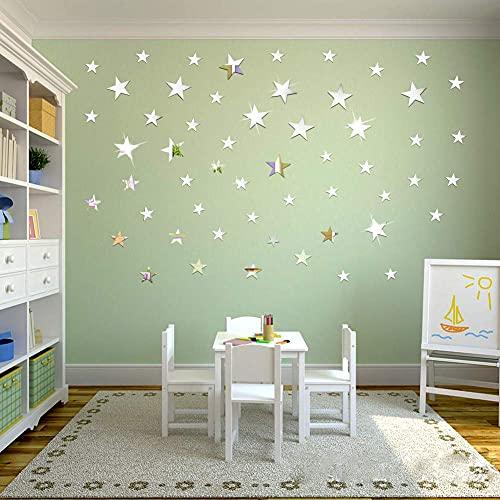 OOTSR 32 Stück Sterne Spiegel Wandaufkleber, DIY Kunst Wandtattoos, 3D Spiegel Wand Aufkleber fürs Schlafzimmer, Wohnzimmer, Haus Deko
