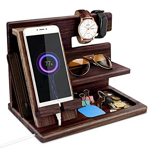 Robomanor Geschenke für Männer Holz Telefon Dockingstation Handyhalter Nachttisch Geldbörsenständer Uhren Schlüsselorganizer Männer Geschenke Ehemann Jahrestags Geschenk Vatertagsgeschenk