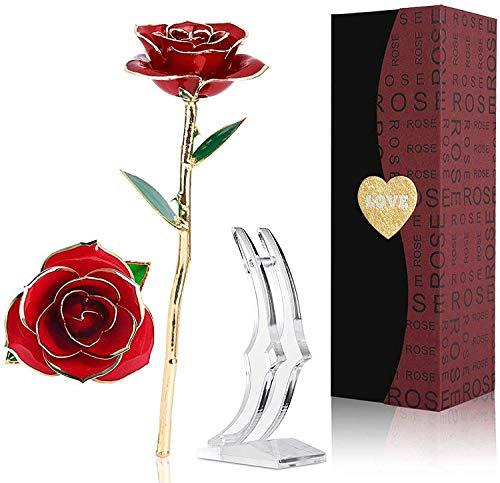 Tokmali 24K Gold Rose,Ewige Rose Handgefertigt Konservierte Rose mit Stand und Geschenkbox für Frau Freundin/Muttertag/Geburtstag/Hochzeitstag/Künstliche (Rot)