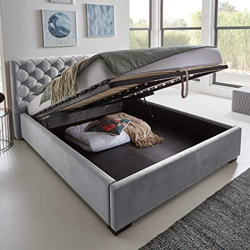 Designer Bett mit Bettkasten ELSA Samt-Stoff Polsterbett Lattenrost Doppelbett Stauraum Holzfuß schwarz (Grau, 160 x 200 cm)