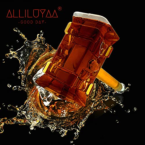 Whiskey Decanter,Handgemachte Thors Hammer Decanter,Transparent Creative Whisky Karaffe Getränkespender Für Wein,Brandy,Bourbon,Scotch Und Schnaps 400ml